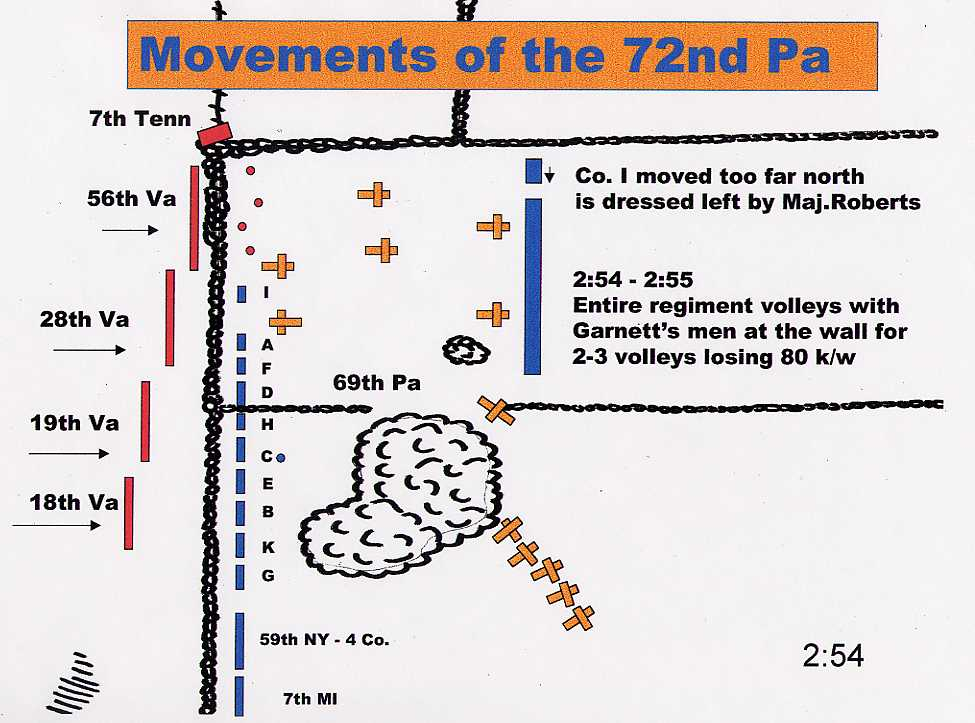 The 72nd Pa in reserve moved to the crest of the ridge and was hit with fire