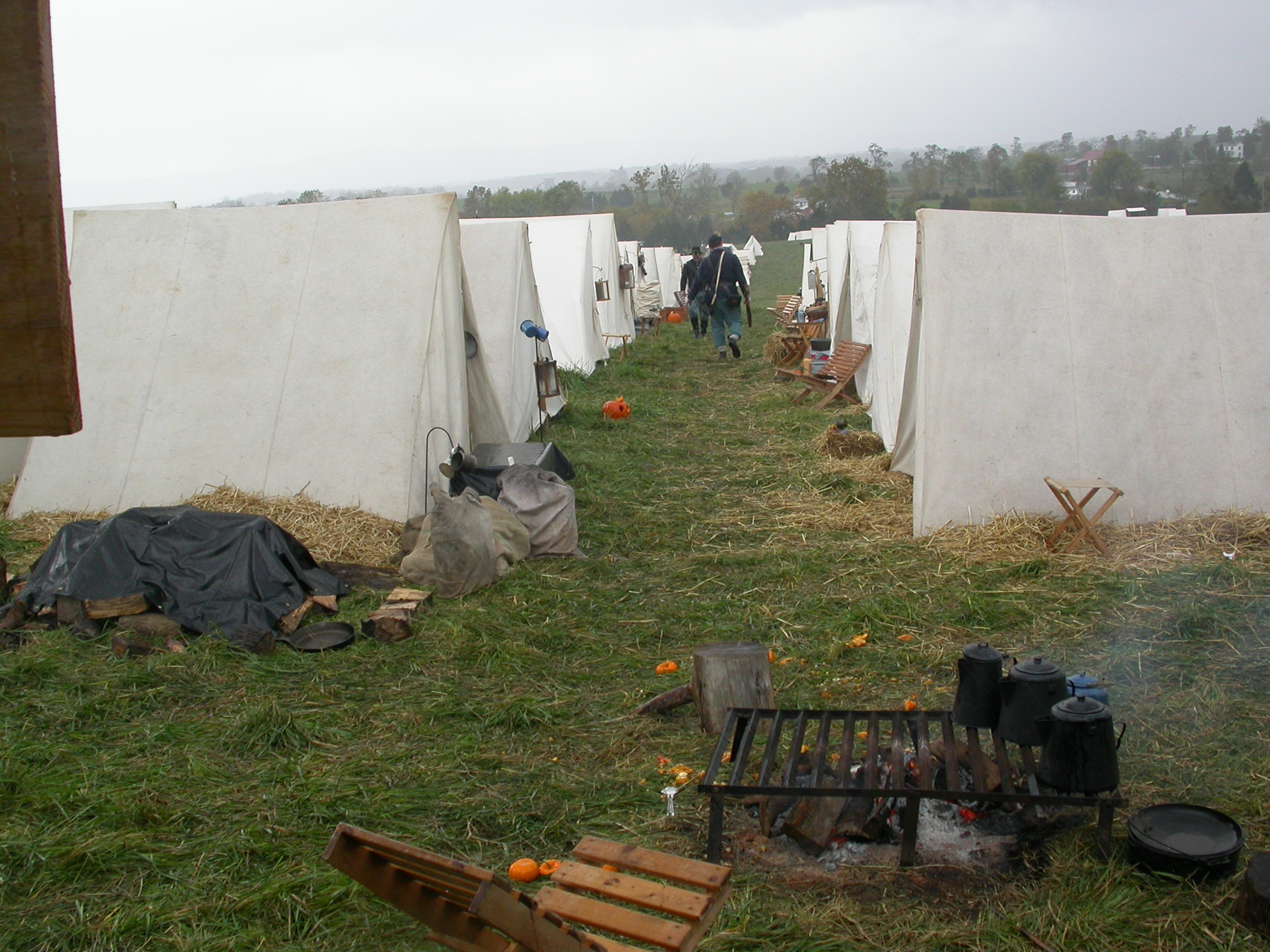 two soldiers per tent for a little sleep each night