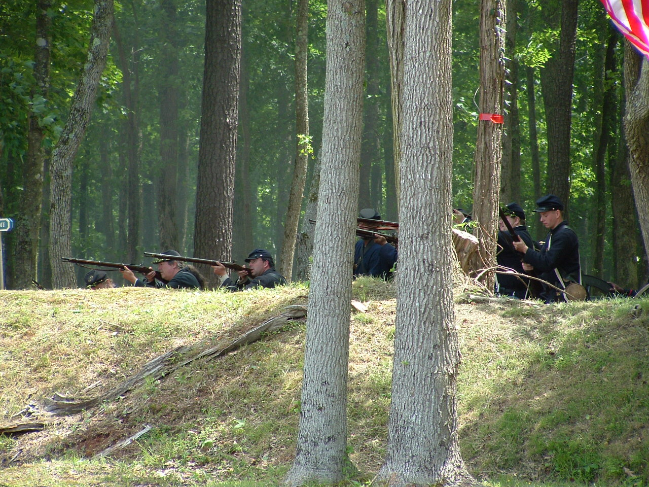 Reenactiong on the site of the 1864 battle